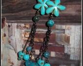 Blue Earrings, Flower Ear...