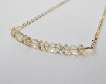 Lemon Quartz Bar Necklace - Gold Filled Beaded Row Necklace Beadwork Necklace Lemony Faceted Stones