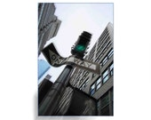 Photographic Fine Art New York City One Way Street Sign and Green Light - Urban Lanscape Painting with Photography - Affordable Wall Decor
