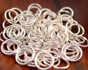 200 pcs 8mm Silver Plated Brass Jump Rings, Open (18 gauge)
