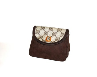 GUCCI Vintage Pouch Brown Suede Monogram Horseshoe Clutch Coin Purse - AUTHENTIC -