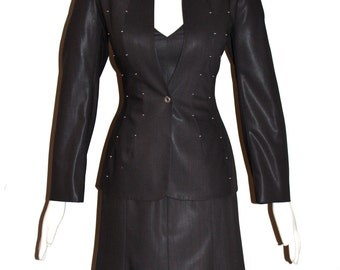 MUGLER Vintage Dress Suit 2 Piece Brown with Studded Blazer - AUTHENTIC -