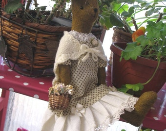 Miss Maggie Rabbit    With a lovely cream knitted shawl    Gorgeous bunny doll!