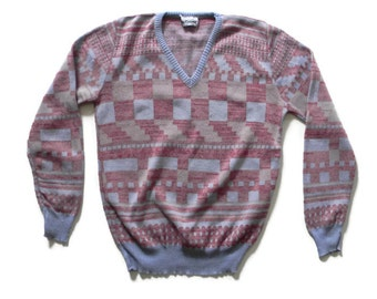 Vintage Space Dyed Geometric Sweater V-Neck Graphic Knit Sweater by Sportissimo