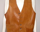1960s toffee caramel leather vest - men Small / women Medium - buckle back - waistcoat - top