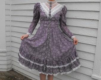 Vintage Gunne Sax Dress Floral Purple Romantic Western Prairie Victorian Midi XS 9