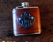 Flask - black crest on brown leather