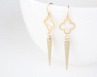 Gold Quatrefoil and Spike Earrings - Ari