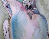 Print of Orignal Conflicting Thoughts Painting 5x7 Print falcon bird art