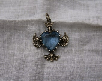 Beautiful Winged Light Sapphire Glass Heart Necklace
