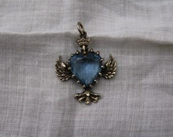 Beautiful Winged Light Sapphire Glass Heart Necklace