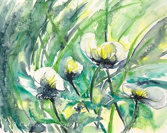White Waterflowers - ORIGINAL on SALE watercolor sweet river blossoms - 9x12