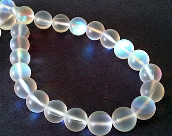 "Moonstone Beads - Ab Clear Glass Round Beads - Synthetic Matte - Glow Iridescent - 12mm - 7.5"" Strand - Jewelry Beading"