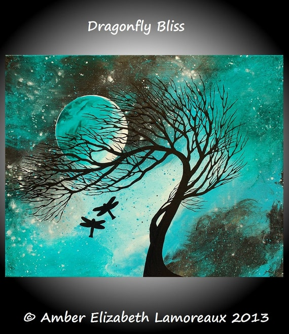 Fine Art Giclee Print Dragonfly Bliss Original Painting  Amber Elizabeth Lamoreaux Surreal Art Modern Dragonflies Blue Green Love