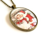 Retro Holiday Jewelry Winter Children Snow Scene Glass Cameo Necklace Vintage Christmas Image Cameo Pendant Necklace Nostalgic Cameo Jewelry