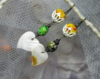 SALE | 10 DOLLARS - Rustic Beaded Earrings - Rustic Heart Earrings - Mother of Pearl, Mismatch Vintage Beads, Sunny Yellow Lampwork, White
