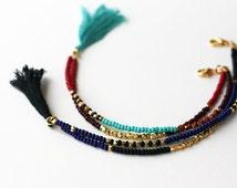 Beaded Tribal Bracelet - Friendship Bracelet - Tassel  Bracelet - Double Strand Bracelet
