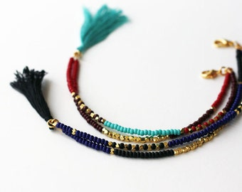 Beaded Bracelet Beaded Tribal Bracelet Beaded Friendship Bracelet Tassel  Bracelet Multi Strand Bracelet