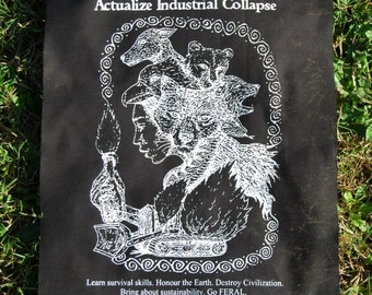 Actualize Industrial Collapse ~ backpatch and free patch (30 different designs available) earth first, anti civ