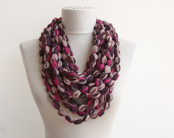 Black Friday Cyber Monday Infinity scarf pink brown shades bubble crochet scarf hot rose pink loop neckwarmer