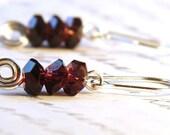Amethyst Earrings, Stacked Faceted Amethyst Crystals, Oxblood Burgundy Earrings, Sterling Silver Earrings, Spiral Earrings, Purple Earrings