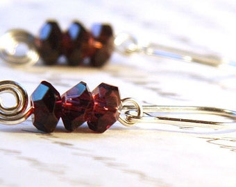 Summer Party Amethyst Earrings Stacked Faceted Amethyst Crystals Burgundy Earrings Sterling Silver Earrings Spiral Earrings Purple Earrings