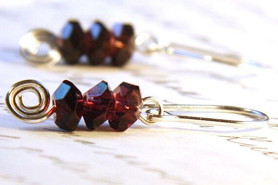 Amethyst Earrings, Stacked Faceted Amethyst Crystals, Oxblood Burgundy Earrings, Sterling Silver Earrings, Spiral Earrings, Purple Earrings