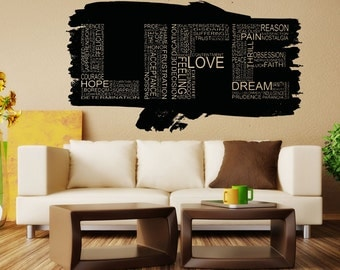 Vinyl Wall Decal Sticker Life Words Design 5160B