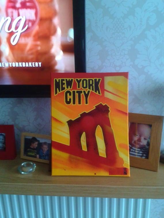 brooklyn bridgenew york city painting on 12 by 16 inch. Black Bedroom Furniture Sets. Home Design Ideas