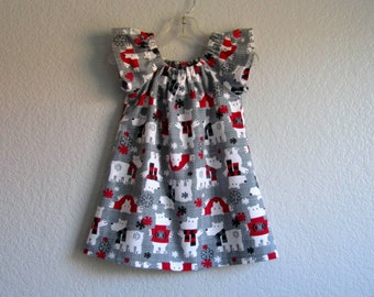 Little Girls Grey Flannel Dress - Charming Polar Bears - White Grey and Red - Flutter Sleeve Dress - Sizes 18 Months, 2T, 3T, 4T, 5,  or 8