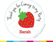 Strawberry Stickers, thank you stickers, Thanks for coming to my Birthday Party, Personalized round Stickers, tags, Labels A991