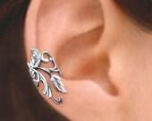 Poppy Flower Leaf ear cuff Sterling Silver earrings Poppy jewelry Poppy earrings Sterling silver ear cuff Small clip non pierced C-075