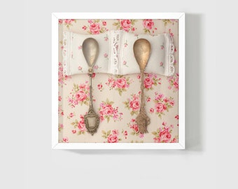 "Anniversary Gift / Spooning Photo 8x8"" Fine Art Photography / Vintage Spoons / Bedroom Decor / Wedding Elegant Gift / Shabby Cottage Chic"