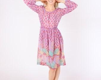 Dress 1970s Vintage 70s Sheer Gauze  Purple Gypsy Dress  S M