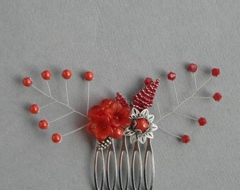 Red Floral Hair Comb - Poppy Red Flower Hair Accessories - Scarlet Wedding Fascinator - Coral Red Bridesmaids Head Piece - Hair combs