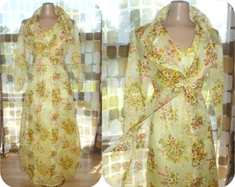 Vintage 70s Dress & Jacket Set | 1970s Maxi Gown | Sheer Yellow Organza | Hostess Maxi Dress | 70s Formal Prom | BOHO Hippie | Sz S/M
