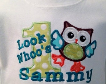 Birthday Applique Owl and Number with Name  choose fabrics and threads