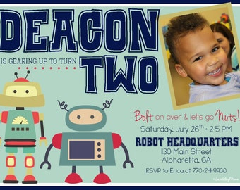 Robot Birthday Invitation - Robot Themed Birthday Party - Robot Party - Robot Birthday - Gearing Up