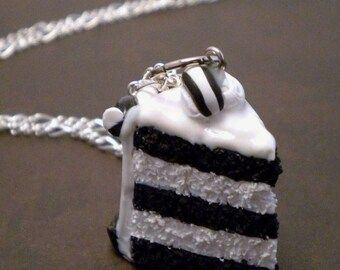 Oreo Cake Necklace - Black and White