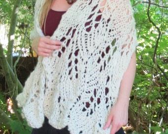 Snow White cozy winter bridal lace hand knit shawl wrap