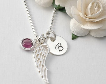 Infant loss remembrance necklace, Angel Baby, Wing Initial birthstone necklace, mommy of an angel