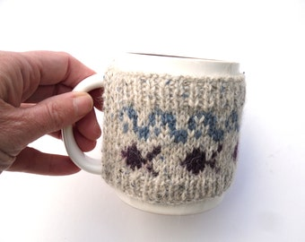 Kids Mug Hug  , hand knitted cup cozy , fun kids cosy , swimming fish and blue waves ,  wool kitchen cosy ,  small , childrens gift