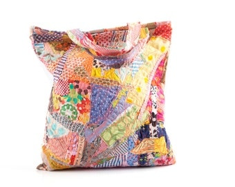 Upcycled Tote , Small Handbag , Crazy Patchwork , Recycled bag , Patchwork Bag , Retro Tote , Gypsy Handbag , Hippie Tote , multi colour