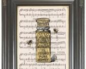 Honey jar Bee wall art print on sheet music or dictionary COUPON Dictionary art print Wall decor Music digital print Home decor No. 573
