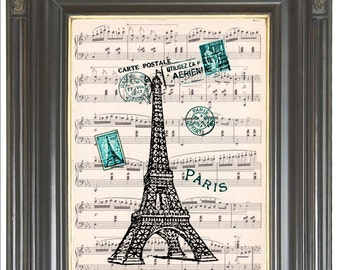Paris print on music or dictionary page Eiffel Tower Aqua COUPON SALE wall art Sheet music Digital art French decor Home decor No. 453