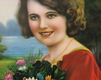Woman with Bouquet Calendar Art Print