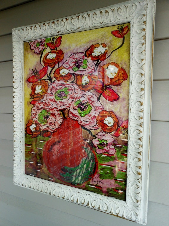 "Framed Impressionism Painting, Original Bouquet Painting, Van Gogh Style, 21"" x 24"" Framed Peonies Painting, Floral Bouquet Painting"