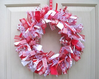 Christmas Wreath, Holiday Decor, Christmas Door Wreaths, Fabric Ribbon Wreath, Red Wreath, Christmas Decoration