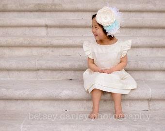 Party Dress for little girl, Swarovski Cream Dress for baby girls, Toddler Elegant Party Dress