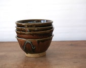 Vintage handmade pottery bowl set of 4 / matching clay stacker bowl set / artisan / handcrafted